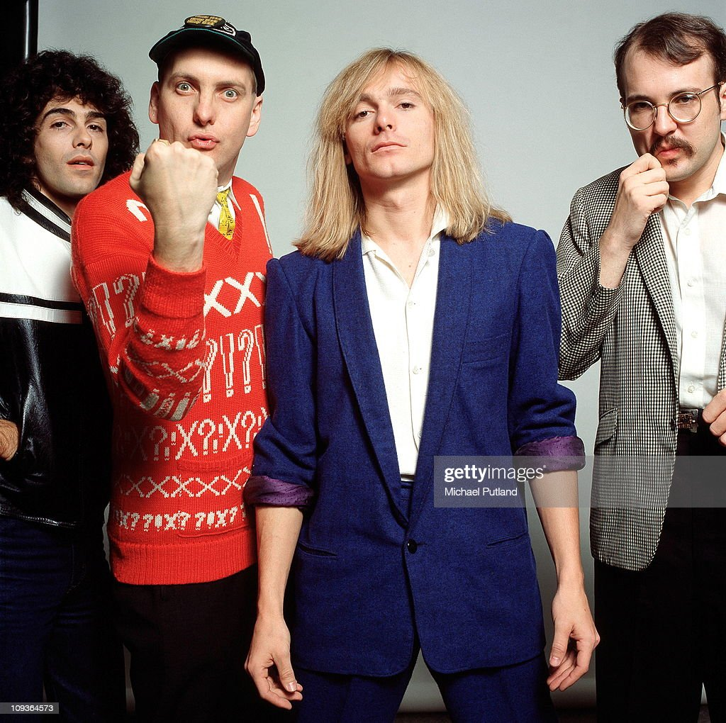 A studio portrait of rock band Cheap Trick New York November 1980 LR Tom Petersson Rick Nielsen Robin Zander Bun E Carlos