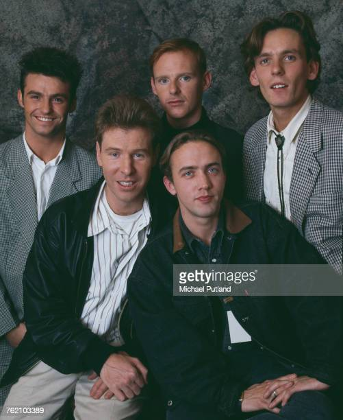 Studio portrait of Scottish pop group Wet Wet Wet posed circa 1988 The band are clockwise from top left singer Marti Pellow drummer Tommy Cunningham...