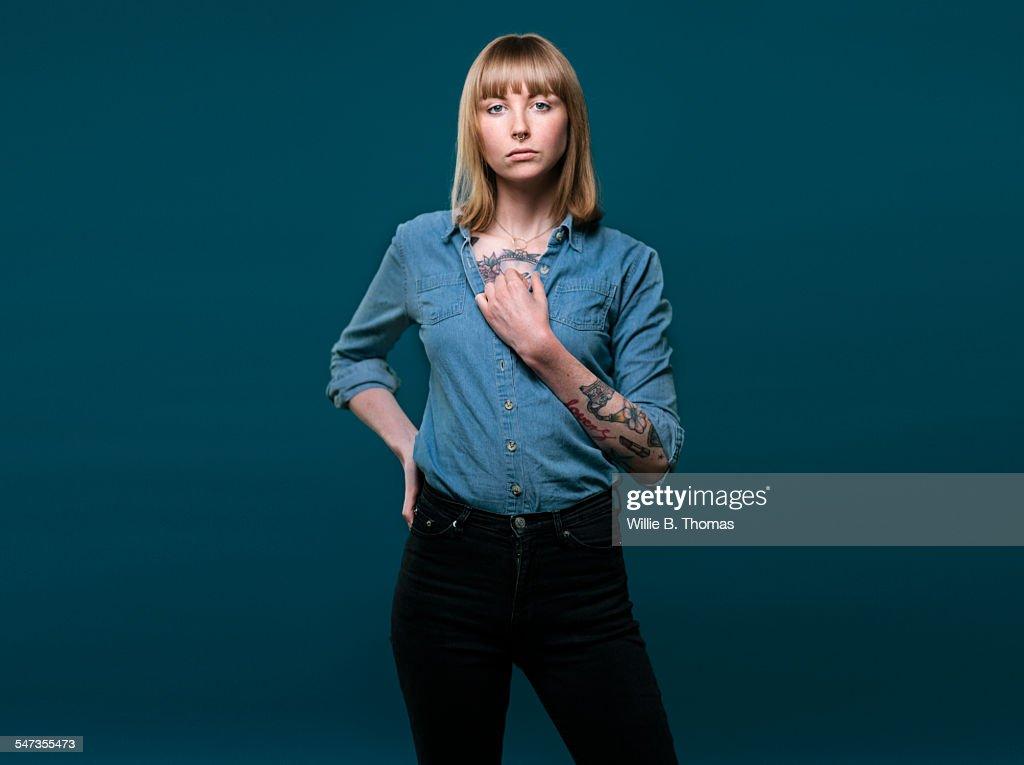 Studio portrait of self-confidence woman