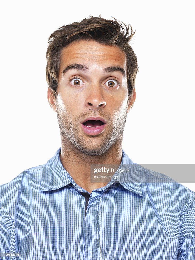Studio portrait of shocked business man : Stock Photo