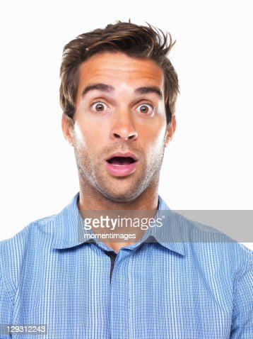 Studio portrait of shocked business man