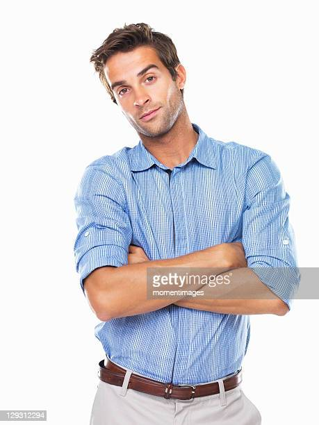 Studio portrait of smart young business man smiling