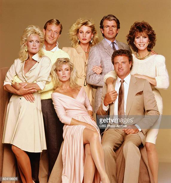 Studio portrait of the cast of the American nighttime soap opera series 'Knots Landing' 1991 From left Actors Joan van Ark Ted Shackelford Donna...