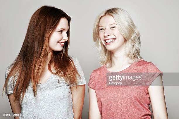 Studio portrait of two women who are best friends