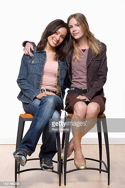 Studio portrait of two young women