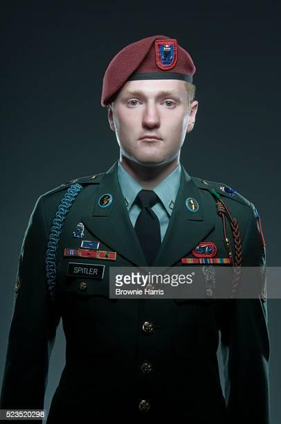 Studio portrait of United States Airborne soldier