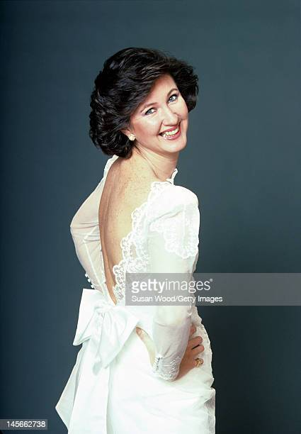 Studio portrait of Valerie Humphries pictured on her wedding day to American author Joseph Heller April 1987