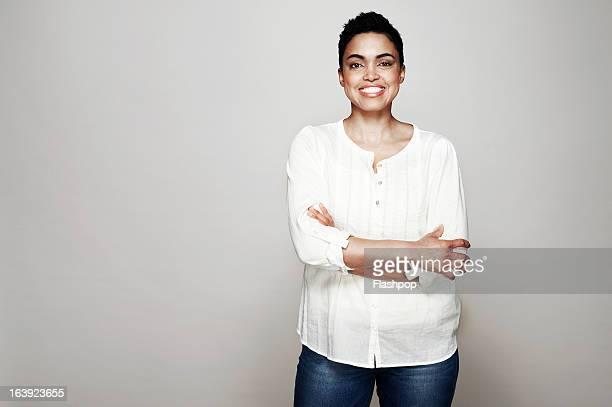 Studio portrait of woman