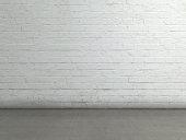 Studio setup - brick wall and cement floor.