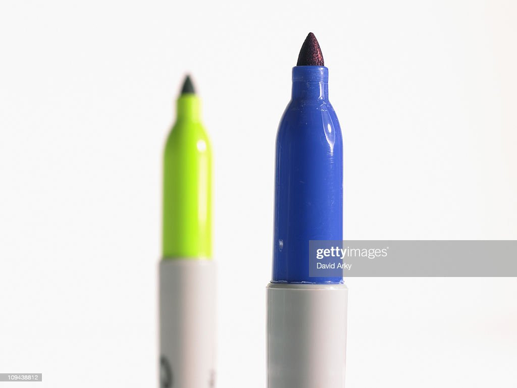 Studio shot blue and green felt-tip pen