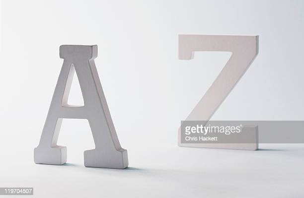 Studio shot of A and Z letters