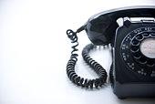 Studio Shot Of A Black Rotary Phone