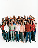 Studio Shot of a Mixed Age, Multiethnic Group of Men and Women