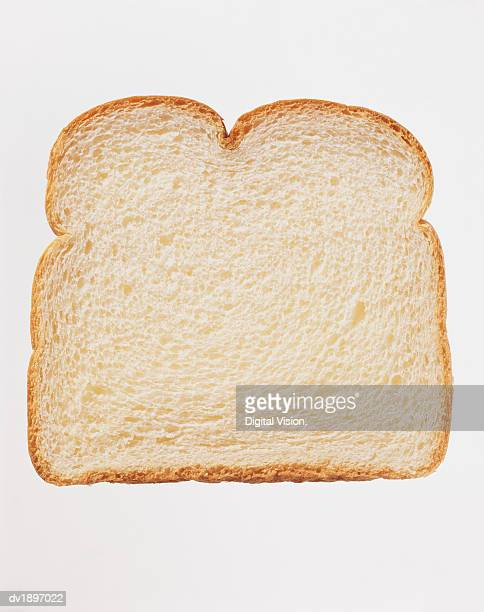 Studio Shot of a Slice of White Bread Against a White Background