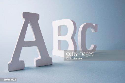 Studio shot of A,B,C letters