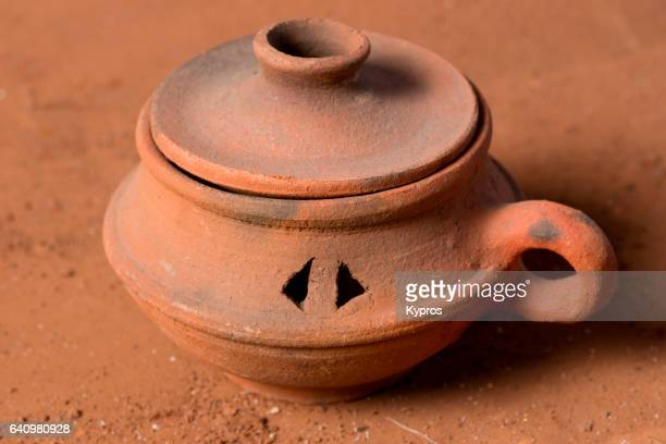 Studio Shot Of African Hand-Made Earthernware Oil Lamp (Year 2000)