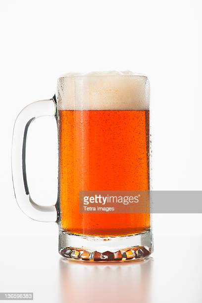 Studio shot of ale in beer glass