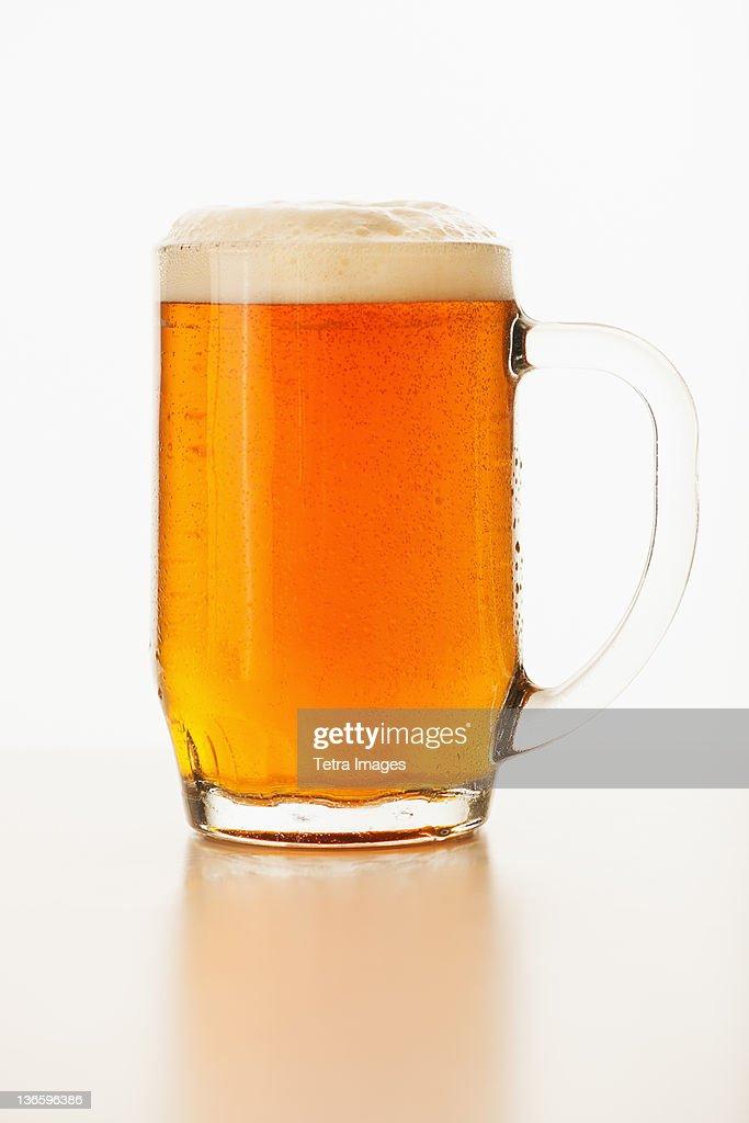 Studio shot of ale in beer glass : Stock Photo