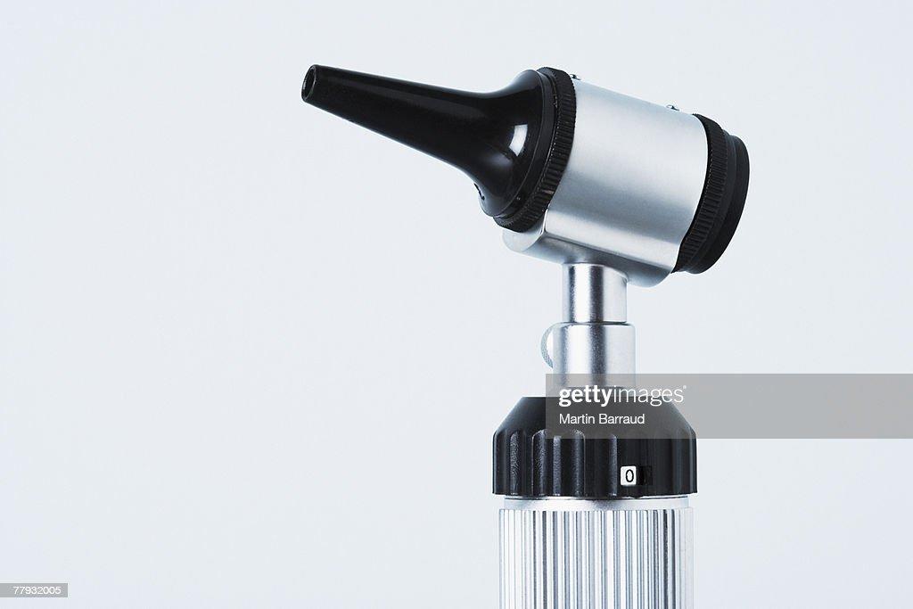 A studio shot of an otoscope