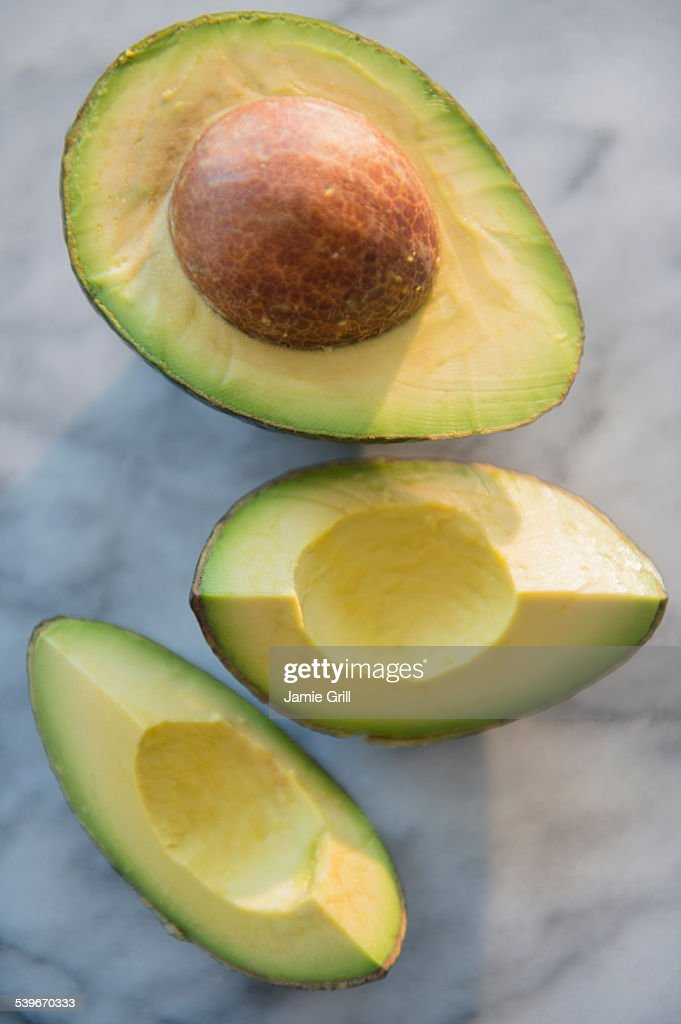 Studio shot of avocado slices