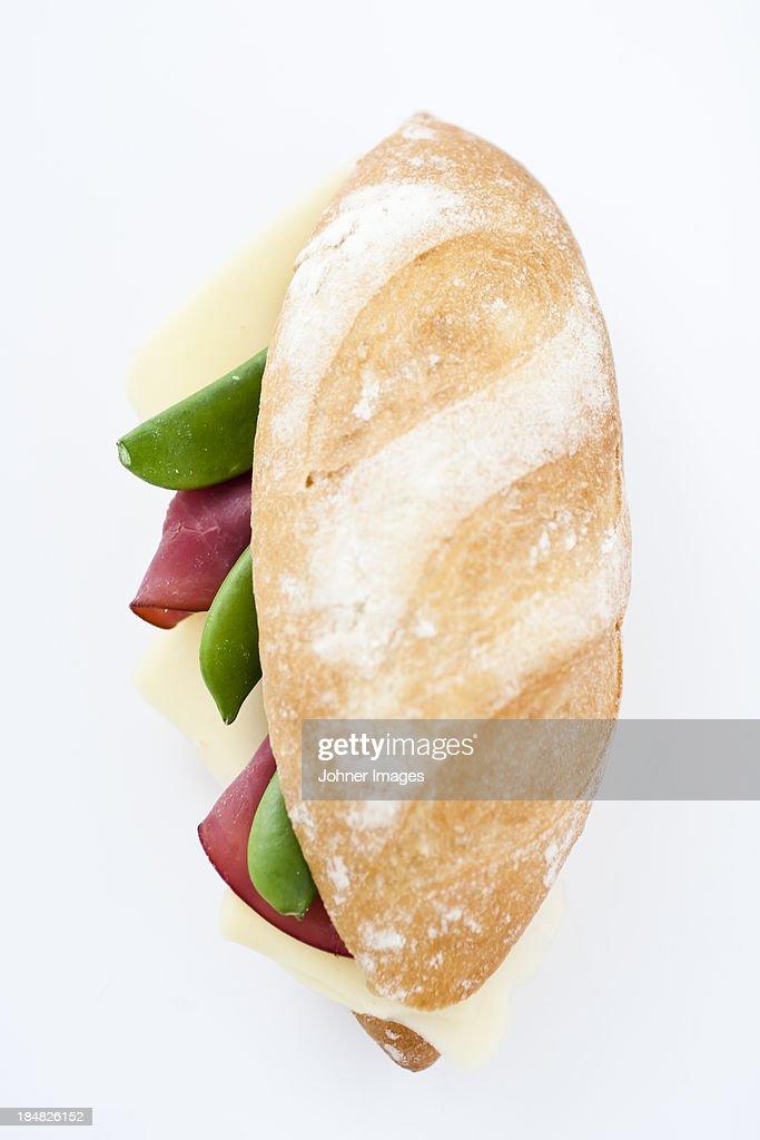 Studio shot of baguette with pea