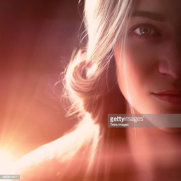 Studio shot of beautiful blonde woman