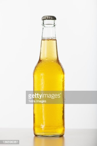 Studio shot of beer bottle
