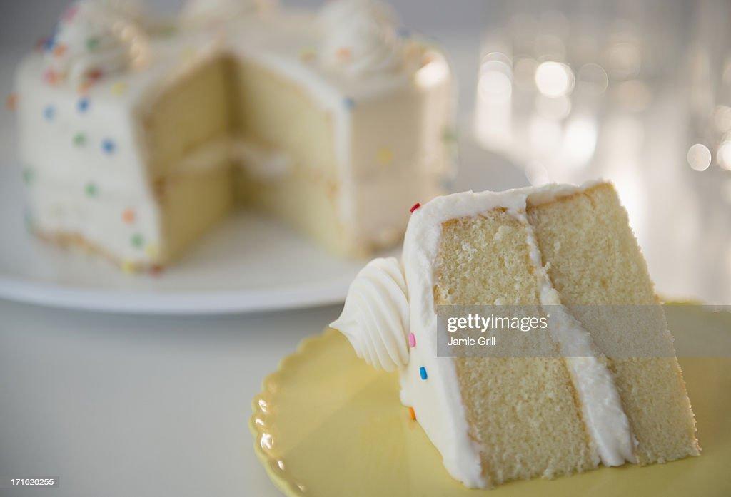 Studio shot of birthday cake slices : Stock Photo