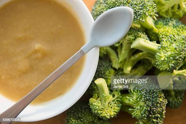 Studio shot of broccoli puree