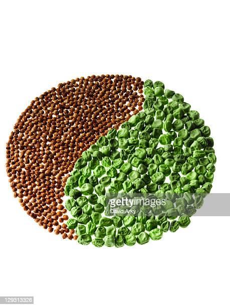Studio shot of Cardamom Seeds and Pea Seeds making Yin Yang on white background
