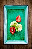 Studio shot of chili pepper on tray