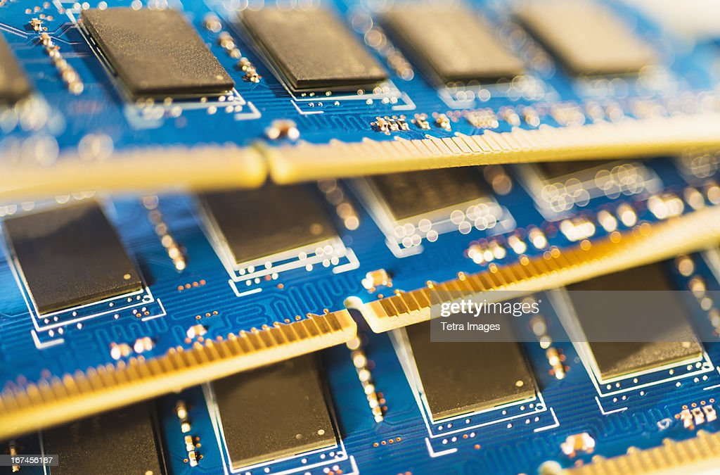 Studio shot of computer chips : Stock Photo