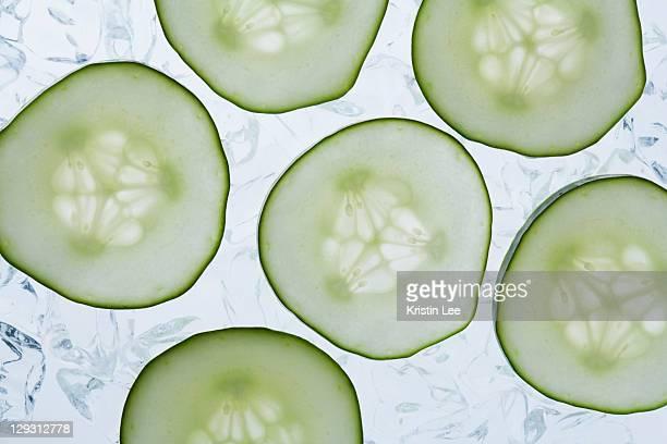 Studio shot of cucumber slices