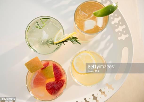 Studio shot of drinks on tray