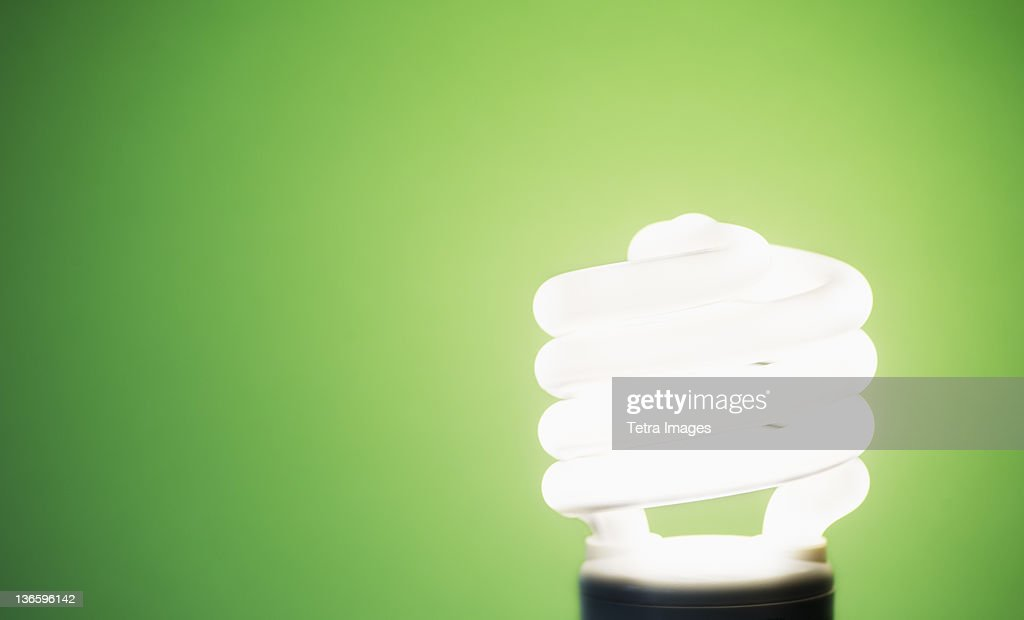 Studio shot of energy efficient lightbulb on green background : Stock Photo