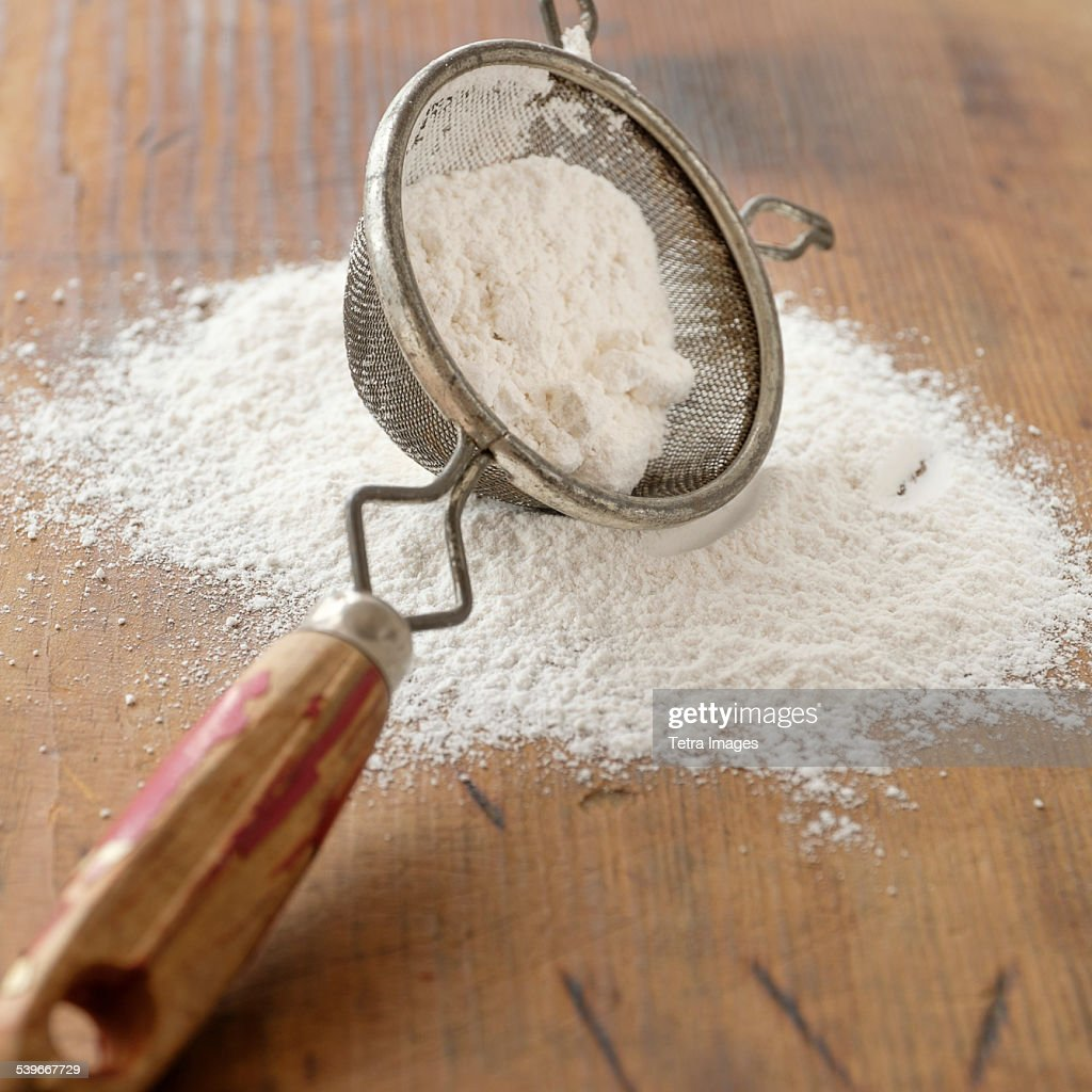 Studio shot of flour sieve : Stock Photo