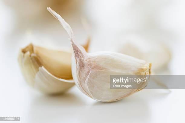 Studio shot of fresh garlic cloves