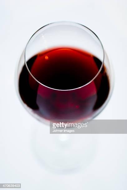 Studio shot of glass of red wine