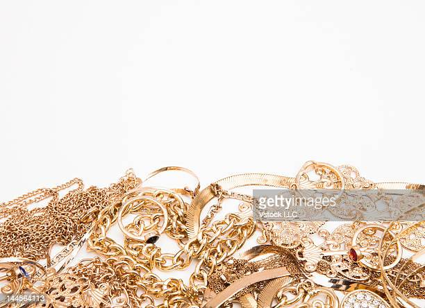 Studio shot of gold jewelry
