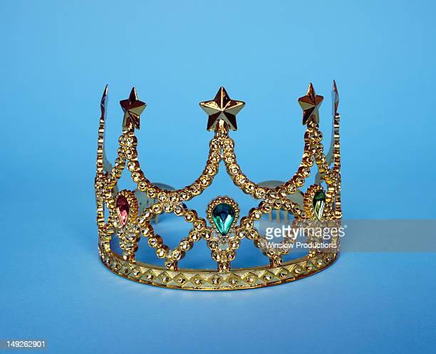 Studio shot of gold tiara