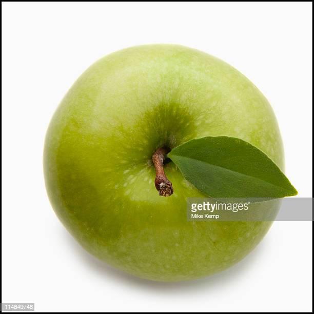 Studio shot of green apple, directly above