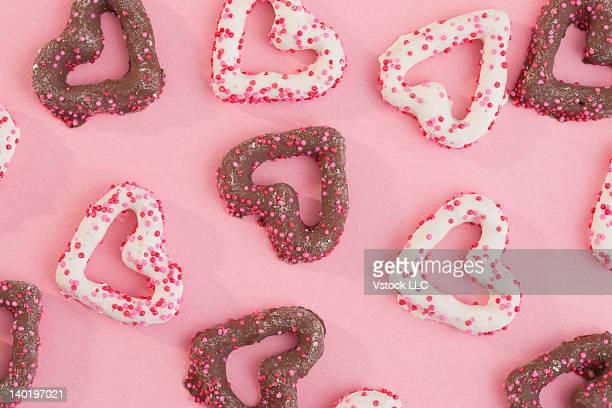 Studio shot of heart shape cookies