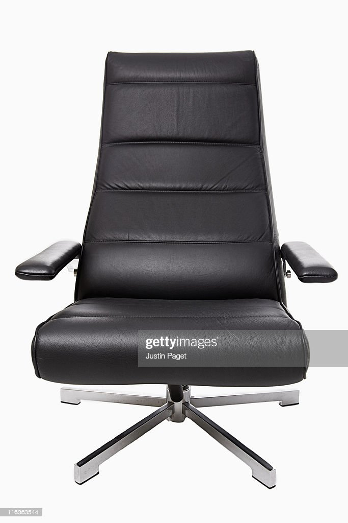 studio shot of leather office chair - Gray Leather Office Chair
