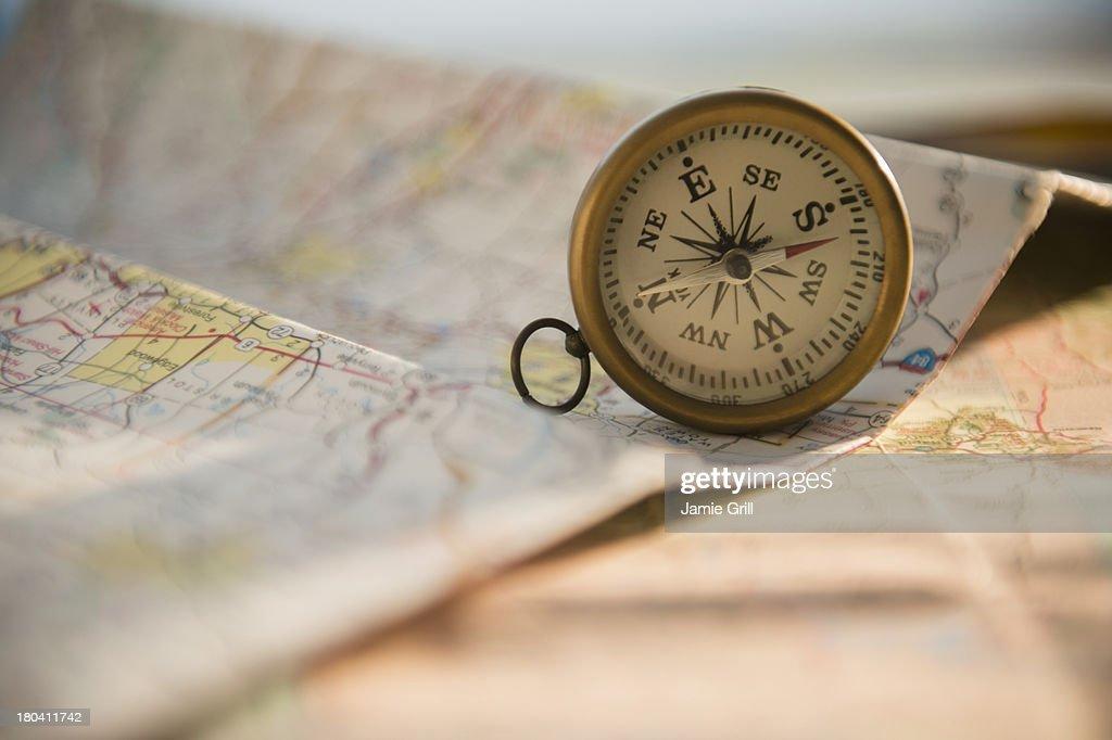 Studio Shot of maps and compass : Photo