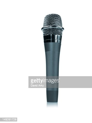 Studio shot of microphone on white background