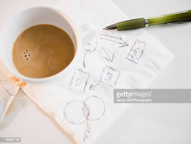 Studio shot of napkin with doodle