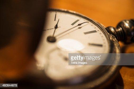 Studio shot of old fashioned pocket watch
