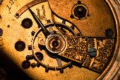 Studio shot of old watch parts