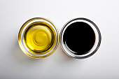Studio shot of olive and vinegar