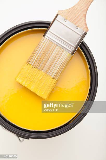 Studio shot of paint brush and paint can
